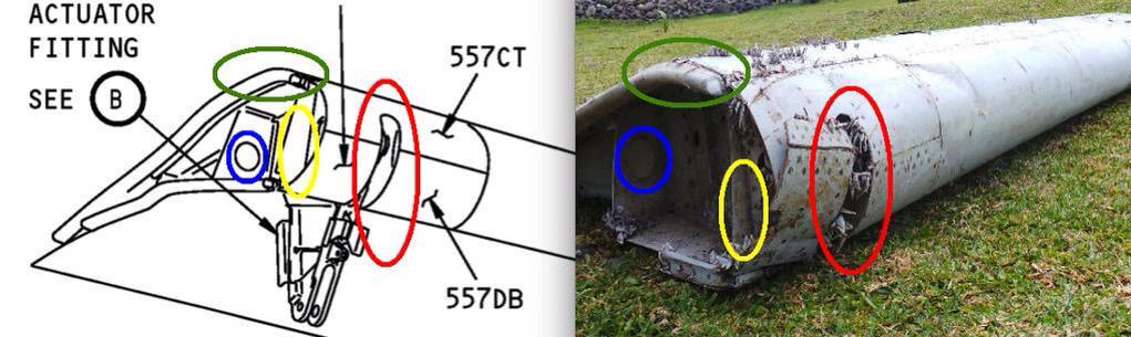 Comparaison entre le flaperon d'un B777 et le débris retrouvé à la Réunion