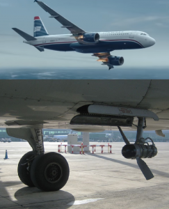 En haut, une image extraite du film Sully dans laquelle l'avion est en train de planer : on remarque que la RAT n'est pas visible. En bas, une RAT déployée.Image FlickR de Russavia