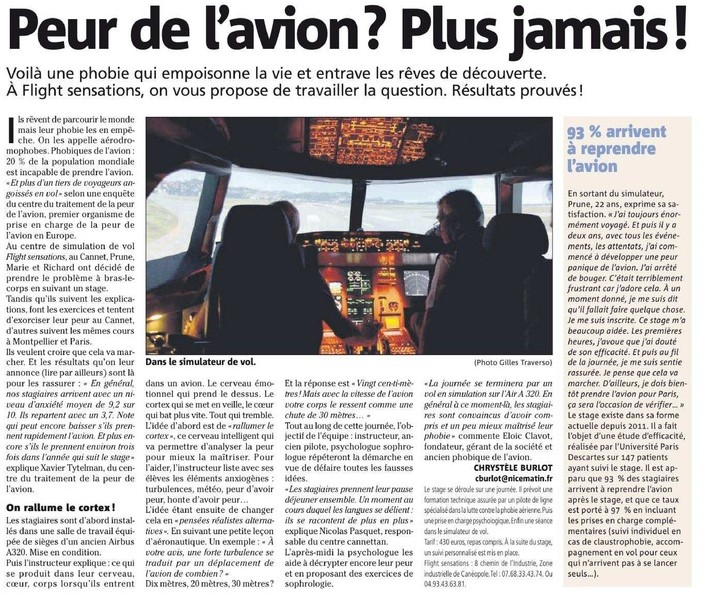 Stage contre la peur de l'avion Cannes